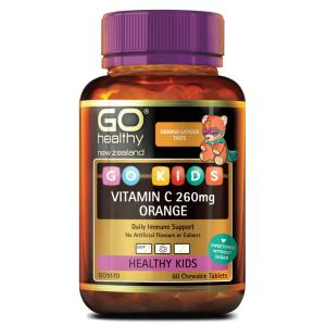 [新包装] 高之源 儿童维生素C咀嚼片 (香橙味) 60粒 GO Healthy GO Kids VITA-C 260mg 60 Chewable Tablets